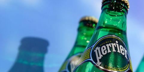 Green, Bottle, Liquid, Bottle cap, Logo, Drinkware, Aqua, Teal, Beer, Glass bottle,