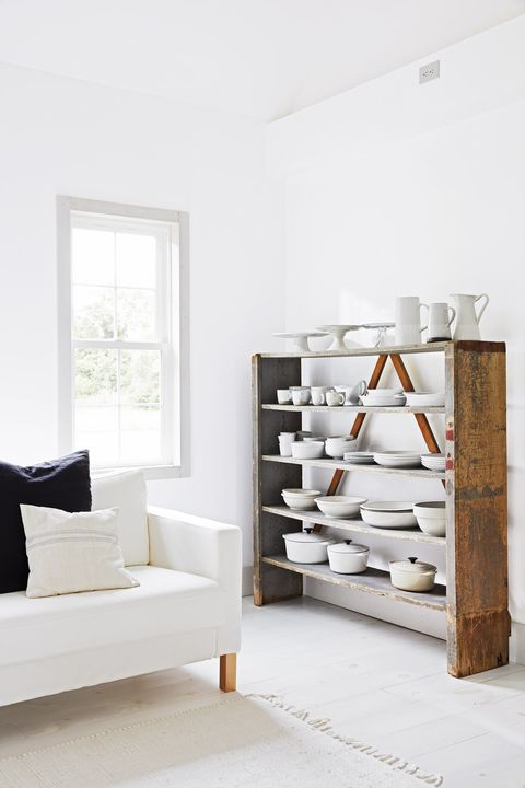 Furniture, White, Shelf, Room, Interior design, Wall, Floor, Shelving, Material property, Wood,