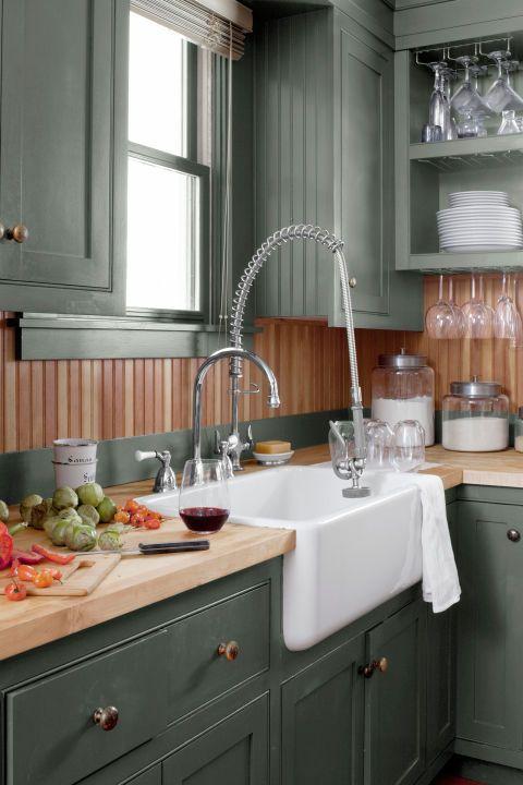 15 Best Green Kitchen Cabinet Ideas - Top Green Paint ...