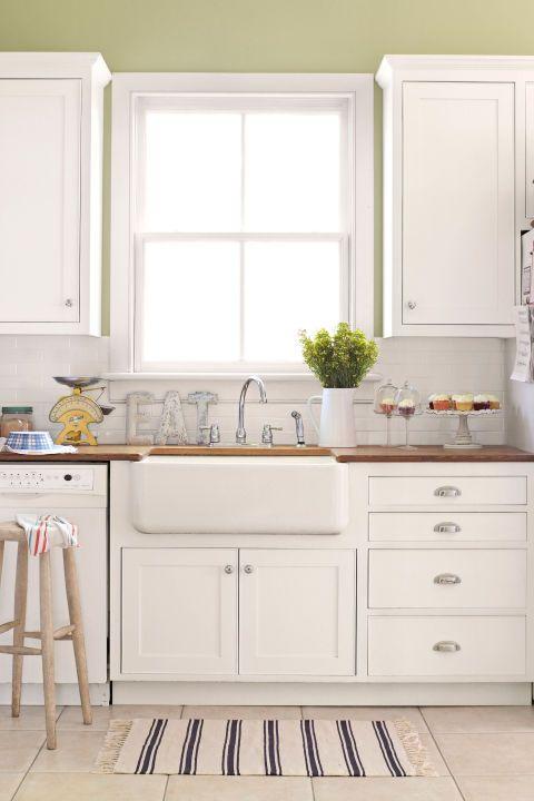 stunning white kitchen cabinets green walls colors | 10 Green Kitchen Ideas - Best Green Paint Colors for Kitchens