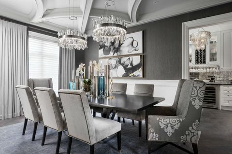 Room, Dining room, Interior design, Furniture, Property, Building, Table, Ceiling, Home, Chandelier,