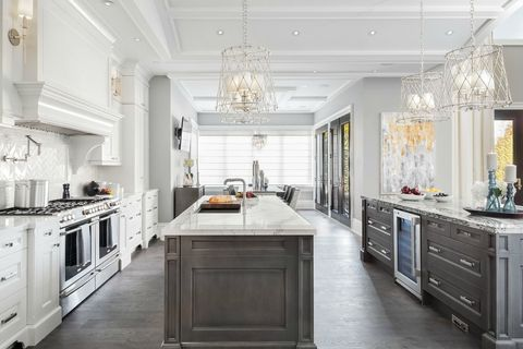 Countertop, Cabinetry, Room, White, Furniture, Kitchen, Ceiling, Property, Interior design, Building,