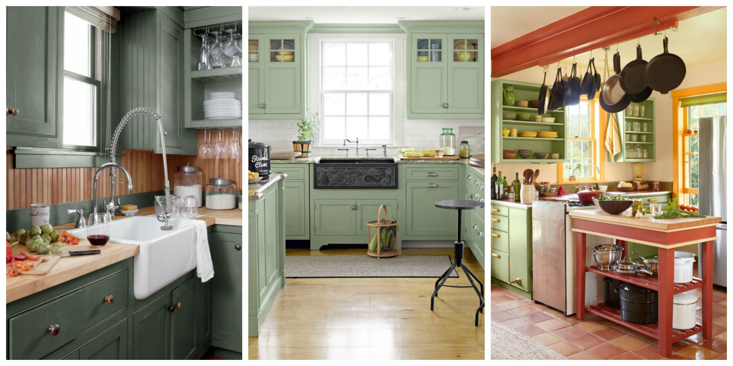 10 Green Kitchen Ideas - Best Green Paint Colors for Kitchens on grey colored kitchen cabinets, kitchen with gray floors, white kitchen cabinets, kitchen wall color schemes, kitchen backsplashes with grey cabinets,