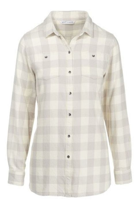 Clothing, White, Sleeve, Shirt, Plaid, Pattern, Collar, Beige, Button, Dress shirt,