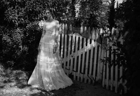 Gown, Wedding dress, Photograph, Dress, White, Bride, Bridal clothing, Clothing, Black-and-white, Monochrome photography,