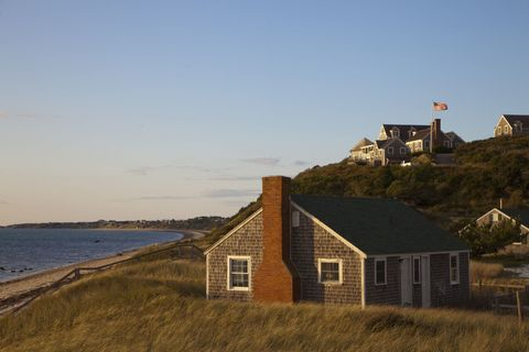 Coastal and oceanic landforms, House, Coast, Roof, Bank, Shore, Rural area, Home, Cottage, Door,