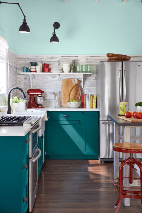 teal colored kitchens designers are loving this color for kitchen cabinets right 2681