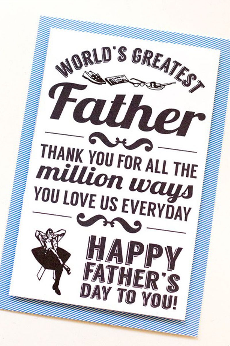 picture about Fathers Day Printable Cards titled 30 No cost Printable Fathers Working day Playing cards - Lovable On the web Fathers