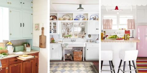 Checkerboard Floors Farmhouse Sinks And Scalloped Accents Yep We Re Rounding Up The Best Of Vintage Kitchens As Modeled On Modern Renditions