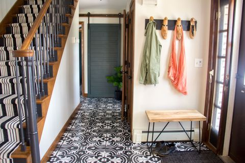 Floor, Room, Interior design, Flooring, Stairs, Carpet, Interior design, Hardwood, Wood stain, Houseplant,