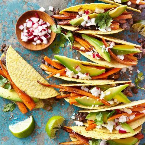 carrot and black bean crispy tacos