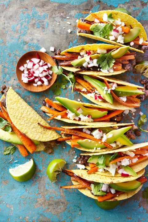carrot and black bean crispy tacos
