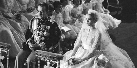 Grace Kelly and Prince Rainier of Monaco on their wedding day