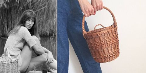 Photograph, Basket, Picnic basket, Wicker, Bag, Leg, Footwear, Photography, Diaper bag, Jeans,