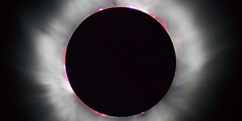 Red, Light, Circle, Pink, Eclipse, Celestial event, Sky, Space,