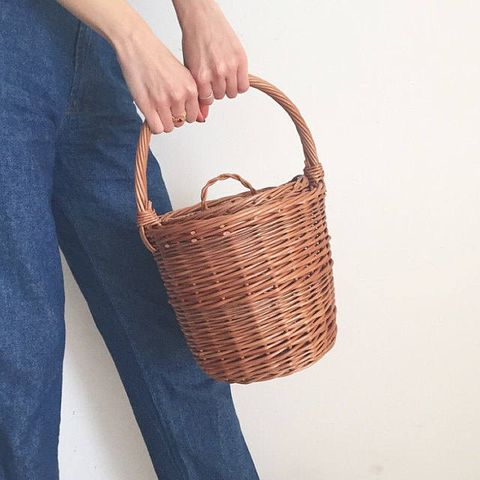 Denim, Basket, Jeans, Storage basket, Wicker, Azure, Home accessories, Picnic basket, Electric blue, Laundry basket,