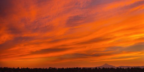 Sunset over central Oregon and Mount Jefferson, after a hot June day.