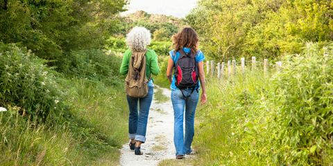 Jeans, Plant community, Shrub, People in nature, Walking, Trail, Garden, Hiking, Meadow, Backpack,