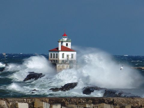 Wave, Wind wave, Lighthouse, Sea, Water, Tide, Sky, Tower, Ocean, Storm,