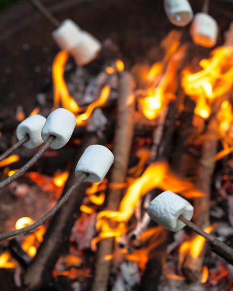 marshmallows being roasted over an open fire