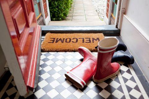 Floor, Red, Tile, Footwear, Flooring, Room, Shoe, House, Mat, Interior design,