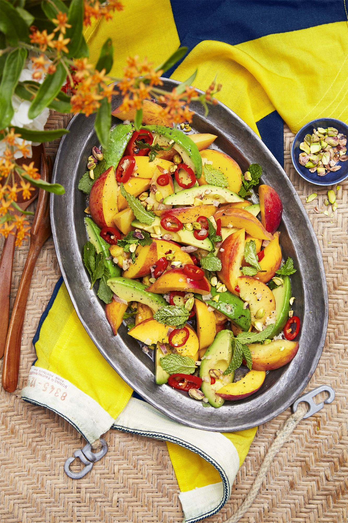 bbq side dishes spicy peach avocado salad