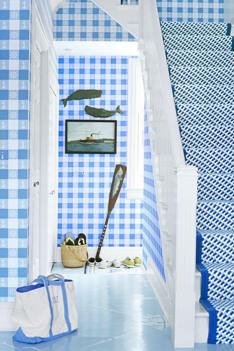 Blue, Room, Textile, Tile, Interior design, Building,
