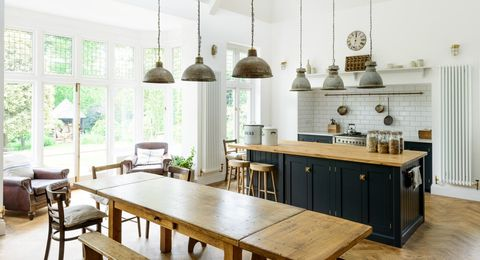 Image Courtesy Of Devol Modern Rustic Kitchen Decor A Large Farmhouse Table Butcher