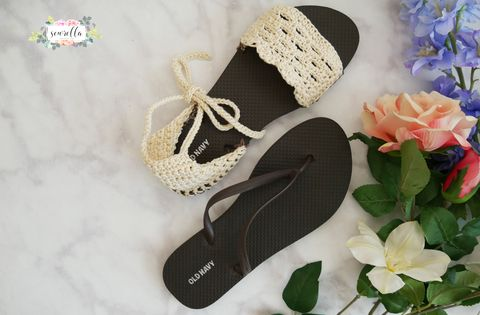 45f1c8ab9c83 How to Knit Crochet Sandals Using Cheap Flip Flops - DIY Crochet Sandals