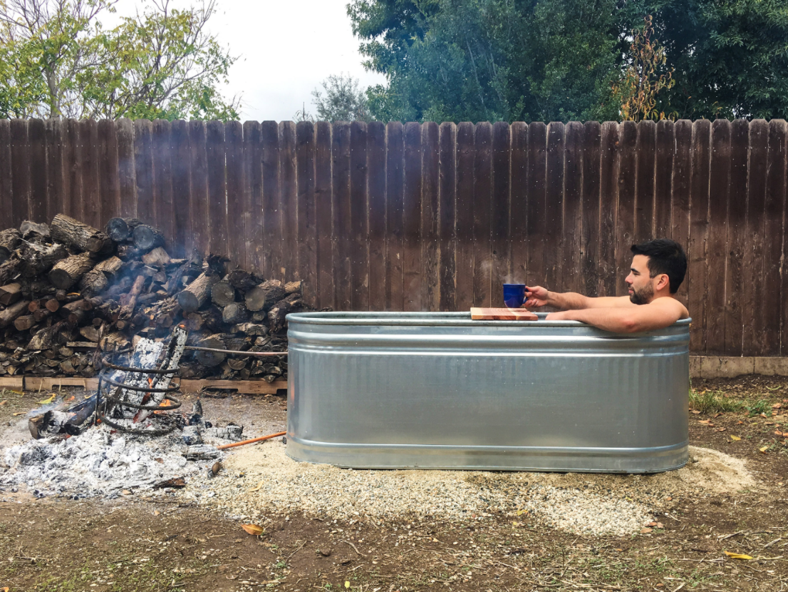 Backyard Hottub stock tank hot tub - diy wood-fired backyard hot tub