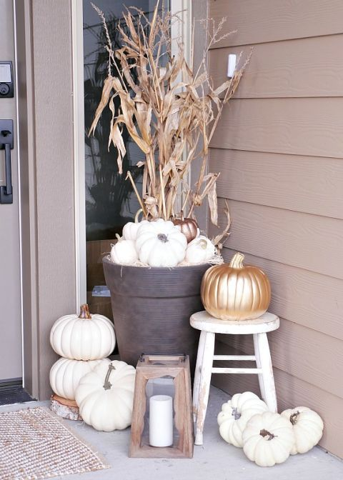 fall porch decorating ideas white pumpkins