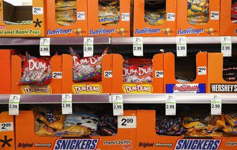 halloween candy on shelves