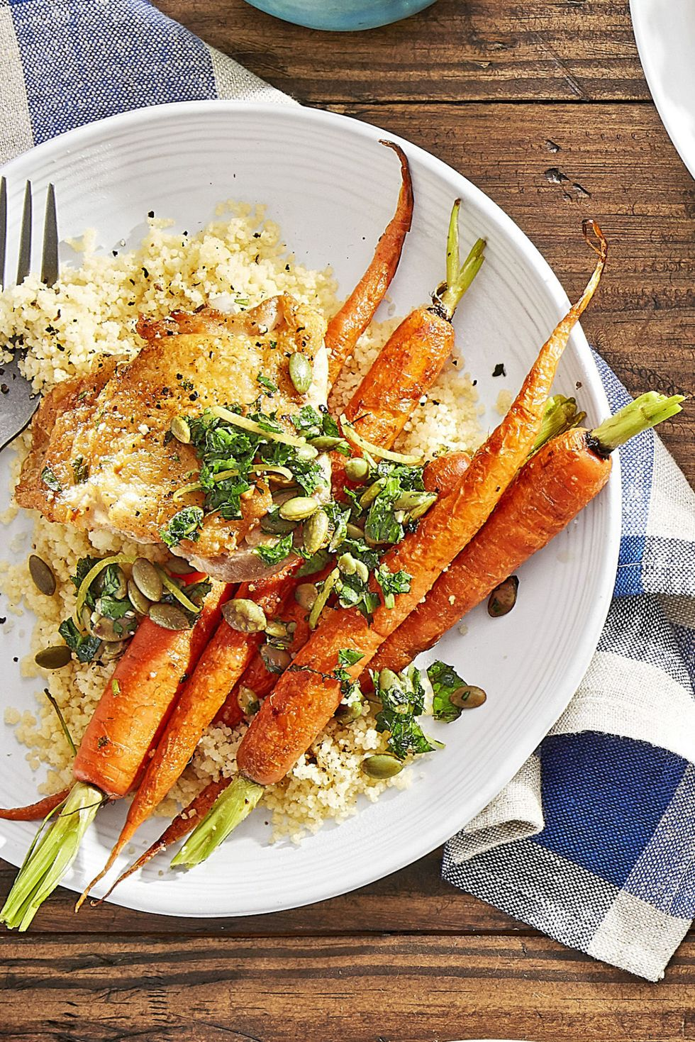 25 Easy Healthy Dinner Recipes - Crispy Chicken with Roasted Carrots and Couscous