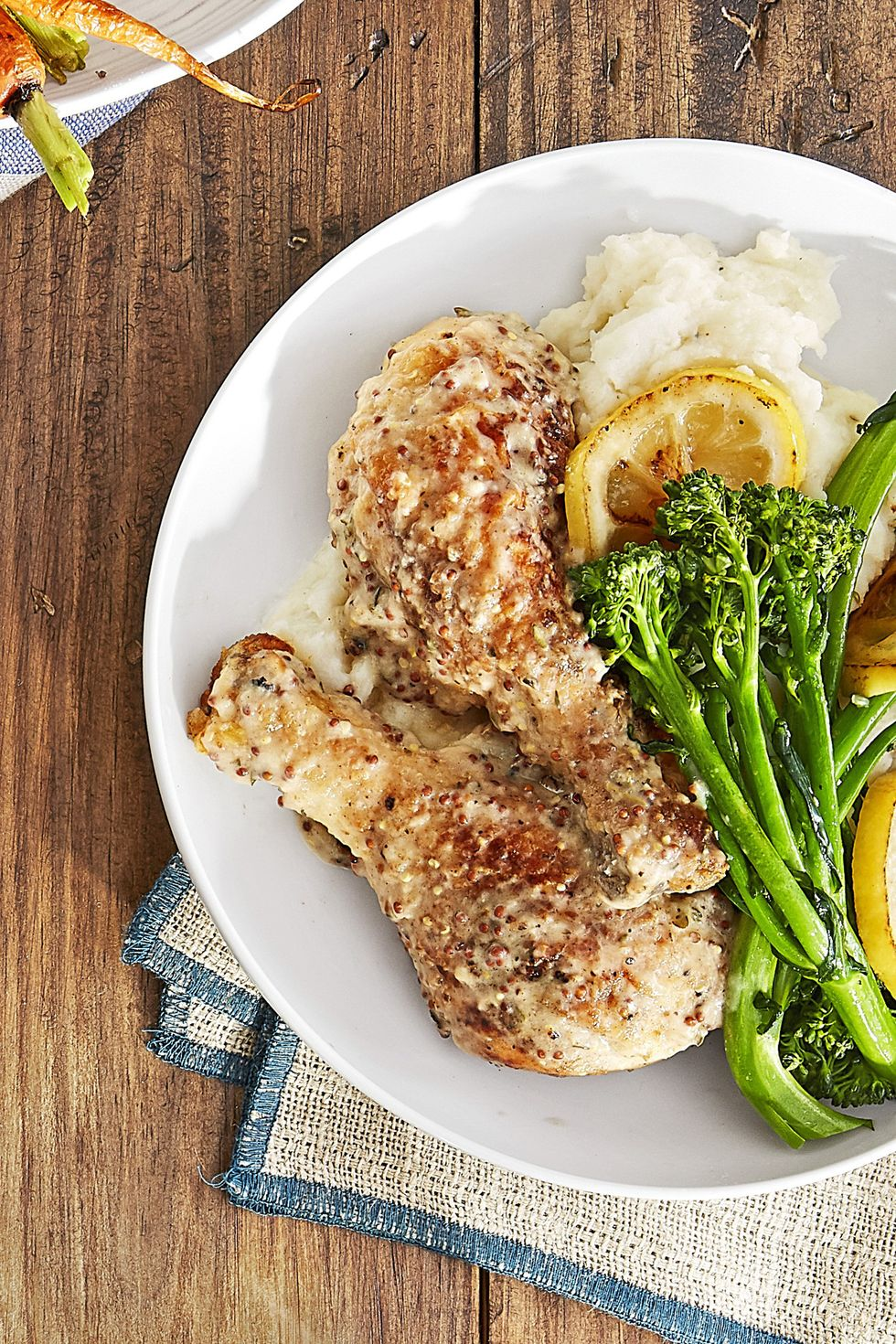 25 Easy Healthy Dinner Recipes -  Dijon-Smothered Chicken Legs with Broccolini