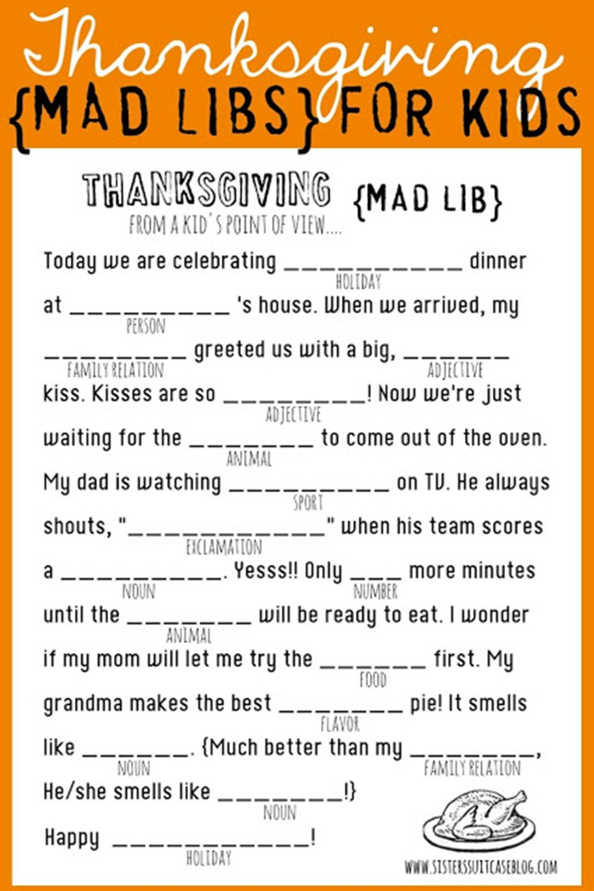 graphic relating to Camping Mad Libs Printable called 21 Exciting Thanksgiving Video games for Older people and Children - Ideal Do-it-yourself