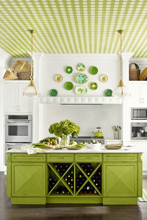 Green, White, Kitchen, Room, Furniture, Interior design, Yellow, Cabinetry, Wall, Kitchen stove,