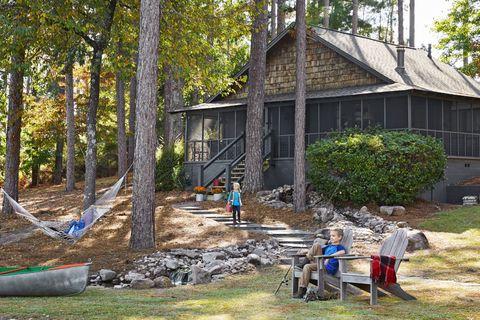 Cottage, Shed, Tree, House, Log cabin, Shack, Yard, Building, Home, Garden buildings,