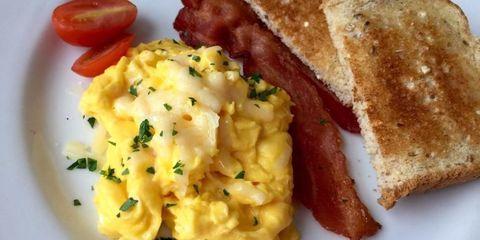 Dish, Food, Cuisine, Breakfast, Meal, Scrambled eggs, Full breakfast, Ingredient, Brunch, Toast,