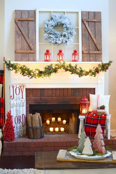 farmhouse styled christmas mantel