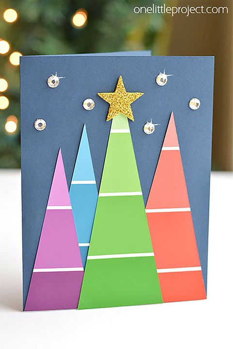 17 diy christmas card ideas easy homemade christmas cards were paint chip christmas card m4hsunfo