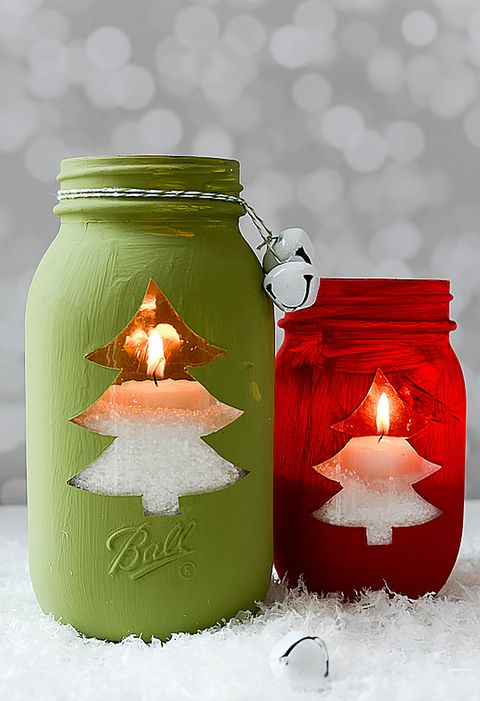 christmas tree mason jar votive craft - Christmas Jar Decorations