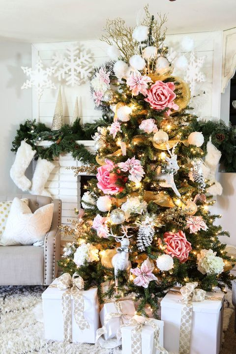 pink gold christmas tree decorating idea - Christmas Tree Flower Decorations