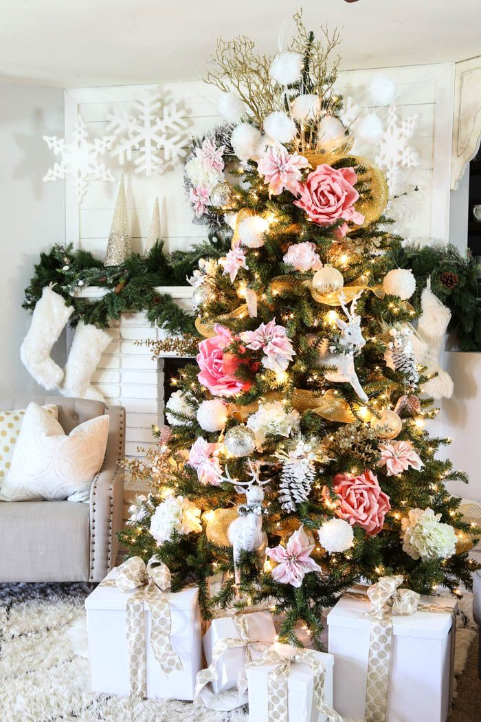 Pink Gold Christmas Tree Decorating Idea