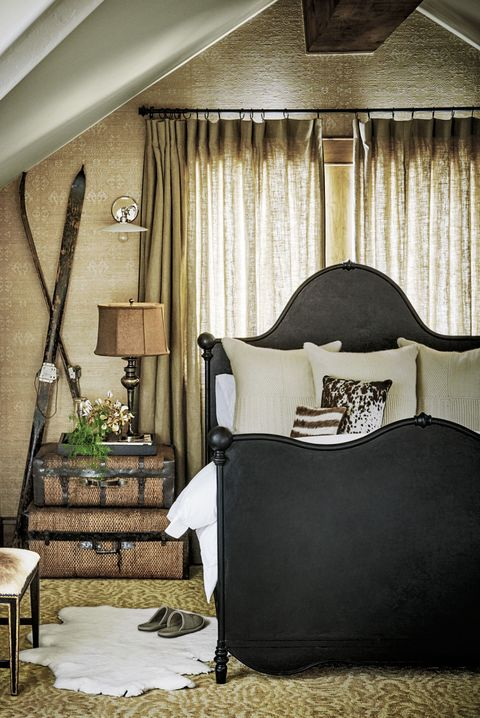 Furniture, Bedroom, Room, Bed, Interior design, Curtain, Bed frame, Wall, Property, Canopy bed,