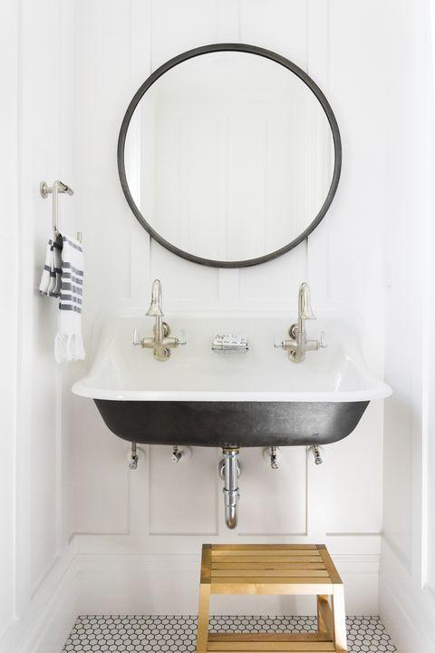 Sink, Bathroom, Bathroom sink, Room, Plumbing fixture, Bathroom cabinet, Bathroom accessory, Tap, Interior design, Mirror,