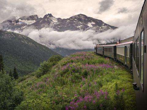Mountainous landforms, Transport, Rolling stock, Railway, Highland, Mountain range, Plant community, Mountain, Valley, Train,