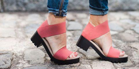 Footwear, Pink, Shoe, Ankle, Sandal, Street fashion, Leg, High heels, Fashion, Foot,