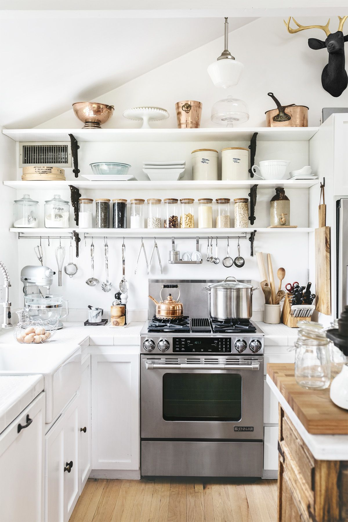 COURTESY OF \ CITY FARMHOUSE STYLE DESIGNS FOR A MODERN COUNTRY LIFE BY KIM LEGGETT. PHOTOGRAPH BY ALISSA SAYLOR & 24 Best White Kitchens - Pictures of White Kitchen Design Ideas