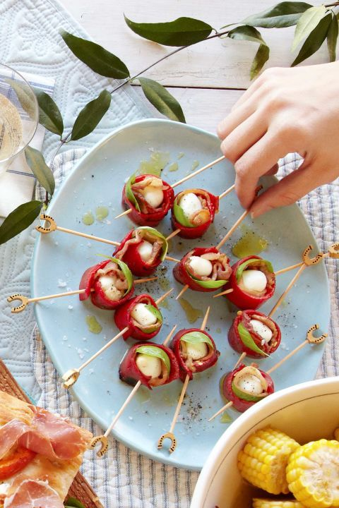 mozzarella, red pepper, bacon skewers recipe