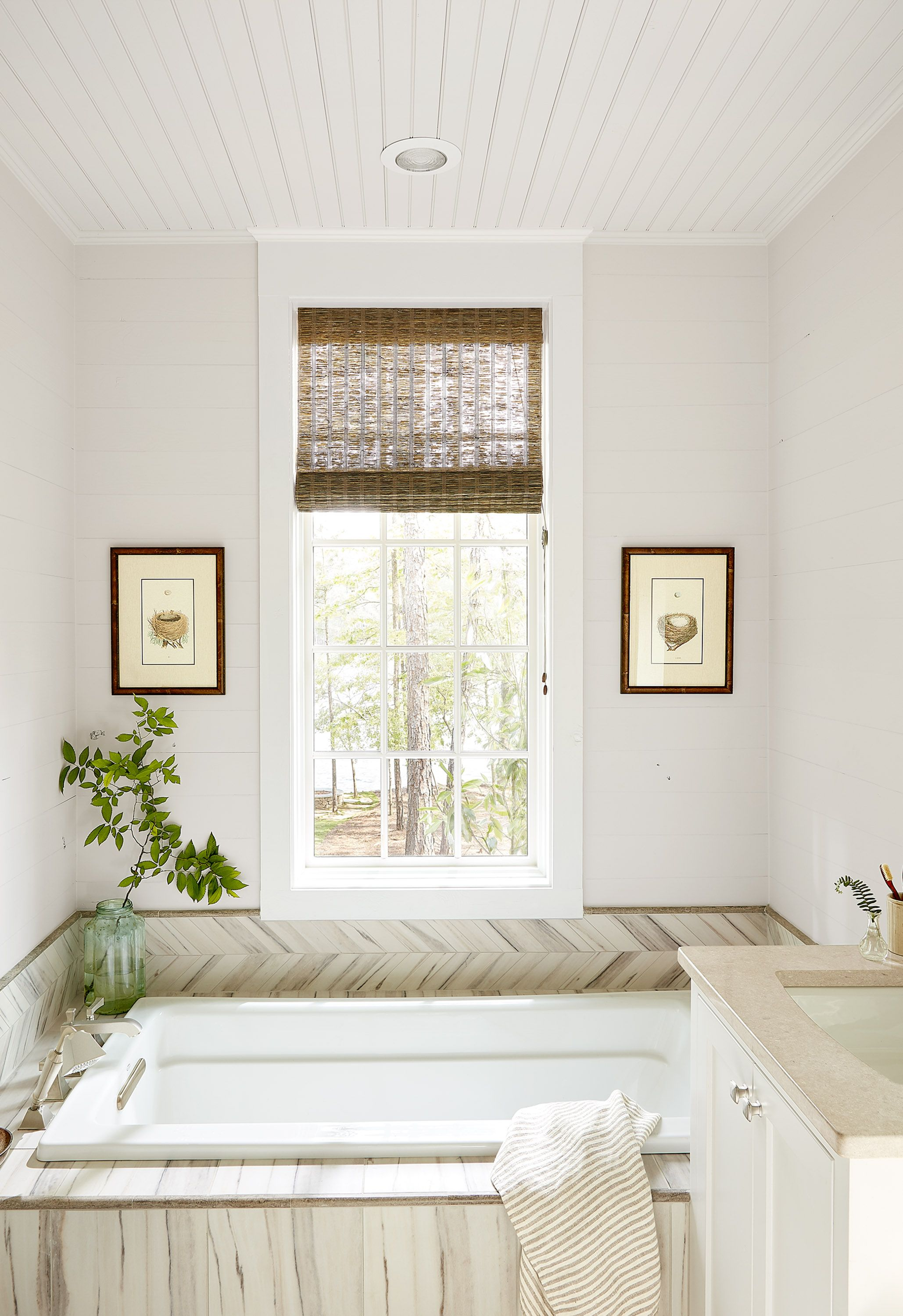herringbone tile bathroom